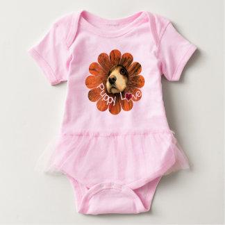 Puppy Love Peeking Out of a Flower Baby Bodysuit