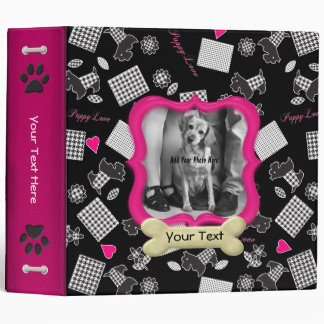 Puppy Love Pink - Customize 3 Ring Binders
