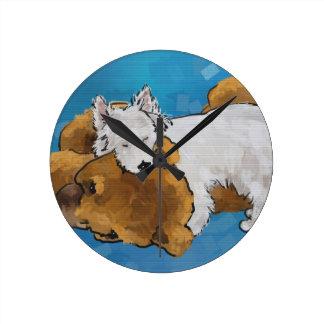 Puppy Love Round Clock