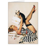 Puppy Lover Pin-up Girl - Retro Pinup Art Greeting Card