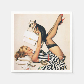 Puppy Lover Pin-up Girl - Retro Pinup Art Paper Napkin