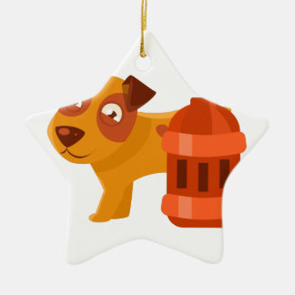 Puppy Next To Vintage Red Lantern Ceramic Ornament