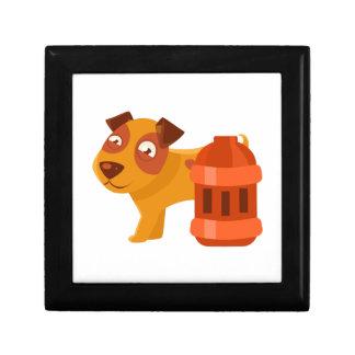 Puppy Next To Vintage Red Lantern Gift Box