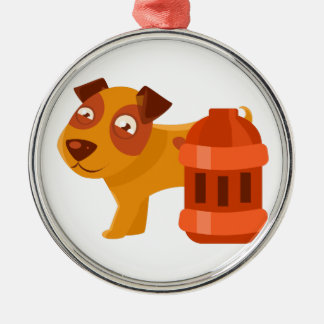 Puppy Next To Vintage Red Lantern Metal Ornament