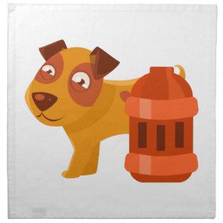 Puppy Next To Vintage Red Lantern Napkin