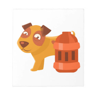 Puppy Next To Vintage Red Lantern Notepad