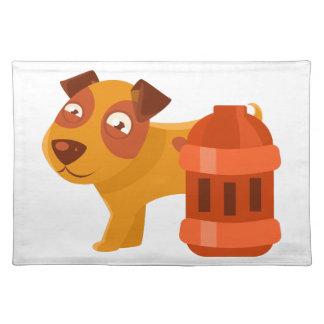 Puppy Next To Vintage Red Lantern Placemat