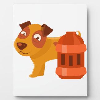 Puppy Next To Vintage Red Lantern Plaque