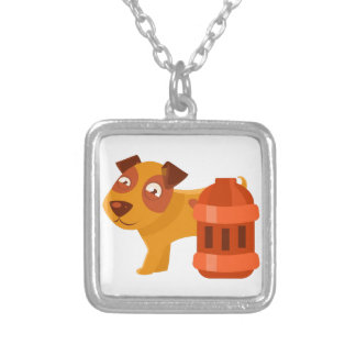 Puppy Next To Vintage Red Lantern Silver Plated Necklace