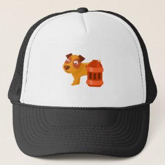 Puppy Next To Vintage Red Lantern Trucker Hat