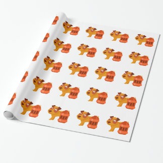 Puppy Next To Vintage Red Lantern Wrapping Paper