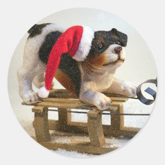Puppy on a Sled Round Sticker