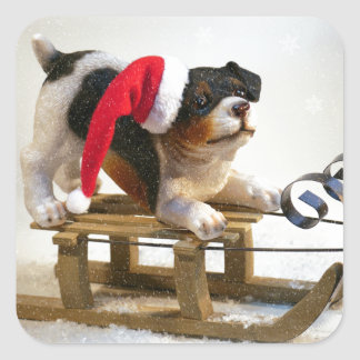 Puppy on a Sled Square Sticker
