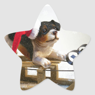 Puppy on a Sled Star Sticker
