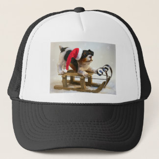 Puppy on a Sled Trucker Hat
