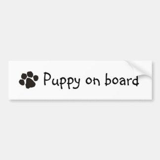 Puppy on board bumper sticker