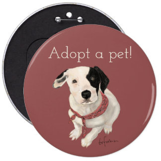 Puppy painted by me for Pet Adoption 6 Inch Round Button