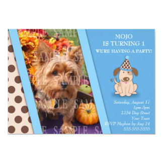 """Puppy Party Photo Template 5"""" X 7"""" Invitation Card"""