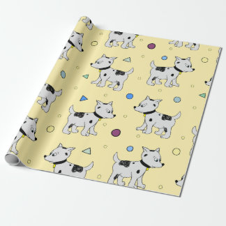 Puppy party props | light yellow kid birthday wrapping paper