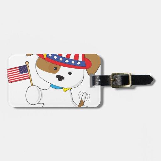 Puppy Patriotic Luggage Tags