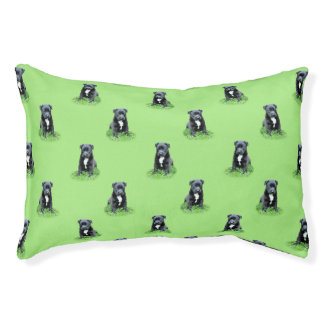 Puppy pattern on green background pet bed