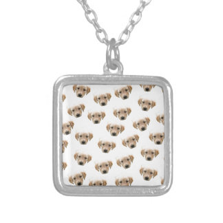 puppy pattern silver plated necklace