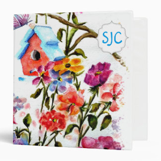 Puppy Paw Print Flowers with BIRD HOUSE 3 Ring Binder