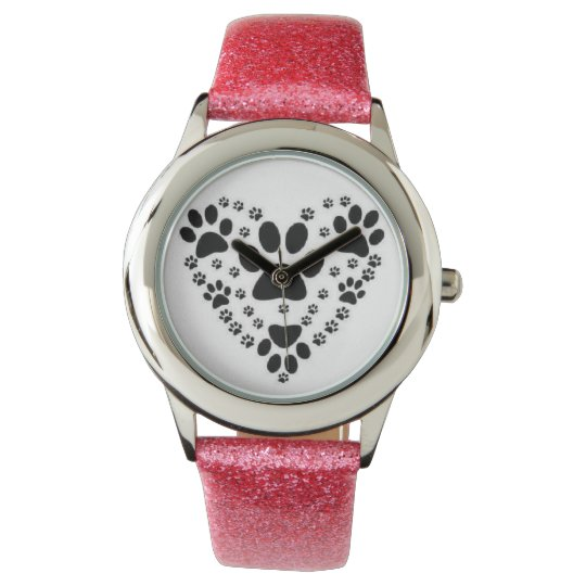 Puppy paw print watch with pink glitter band