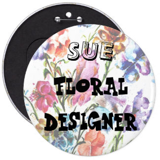 PUPPY PAW PRINTS | FLORAL ID BUTTOM 6 INCH ROUND BUTTON