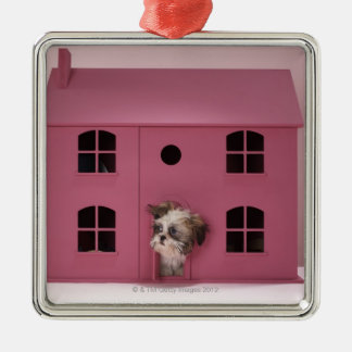 Puppy peering out of doll's house Silver-Colored square ornament