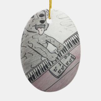 puppy piano ceramic ornament