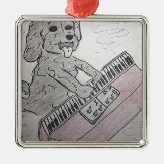 puppy piano metal ornament