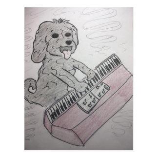 puppy piano postcard
