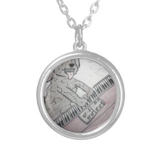 puppy piano silver plated necklace