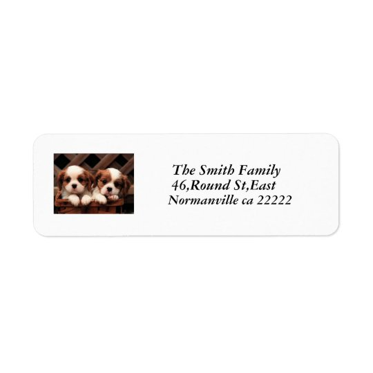 Puppy Pictures Addressed Label Return Address Label