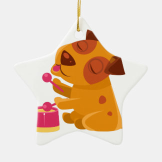 Puppy Playing Drums And Singing Ceramic Ornament