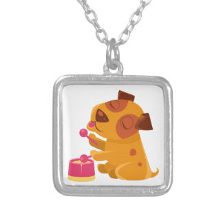 Puppy Playing Drums And Singing Silver Plated Necklace