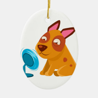 Puppy Playing With Fan Blowing In Its Face Ceramic Ornament
