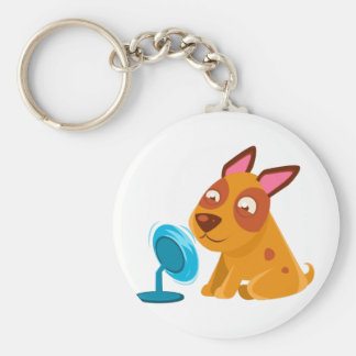 Puppy Playing With Fan Blowing In Its Face Keychain