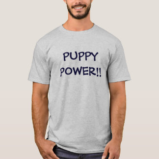 PUPPY POWER LARGE LETTERS GREY T T-Shirt