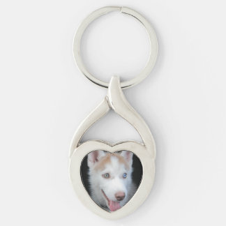 Puppy preschool Silver-Colored twisted heart keychain