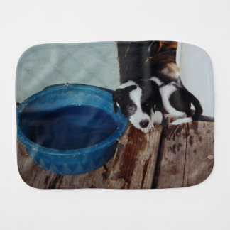 Puppy Resting Against Water Bowl Baby Burp Cloths