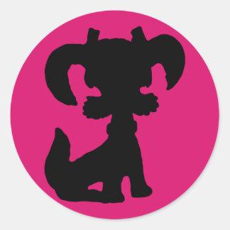 Puppy Silhouette Round Sticker
