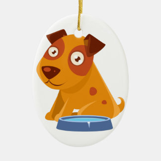 Puppy Sitting Next To The Bowl With Water Ceramic Ornament