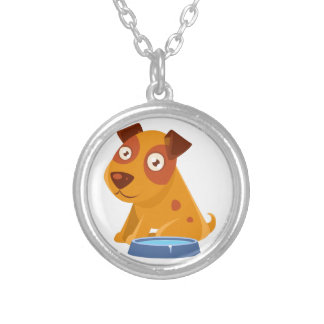 Puppy Sitting Next To The Bowl With Water Silver Plated Necklace