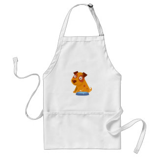 Puppy Sitting Next To The Bowl With Water Standard Apron