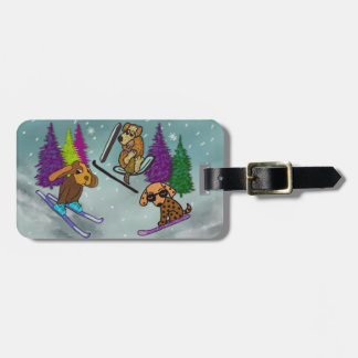 Puppy Ski Vacation Luggage Tag