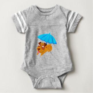 Puppy Sweating Under Umbrella On The Beach Baby Bodysuit