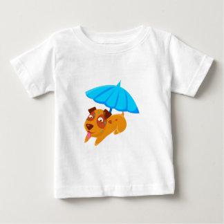 Puppy Sweating Under Umbrella On The Beach Baby T-Shirt