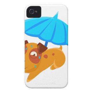 Puppy Sweating Under Umbrella On The Beach iPhone 4 Case